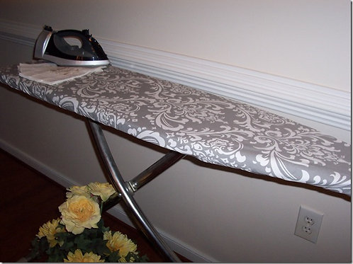 Storm Gray and White Ozborne Damask Ironing Board Cover