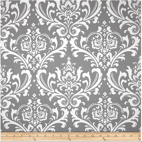 Ozborne Gray and White Damask Draperies