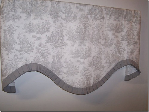 Gray White Toile with Pleated Banding Deep Scallop Valance