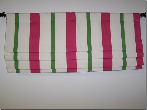 Fuschia & Kelly Green Stripe Faux Flat Roman Shade