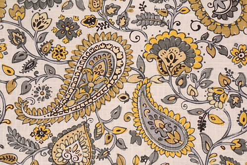 Grey Gold Linen Paisley Custom Shower Curtain