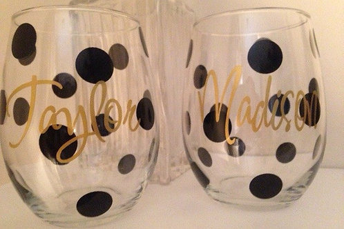 Personalized Polka Dot Wine Glasses