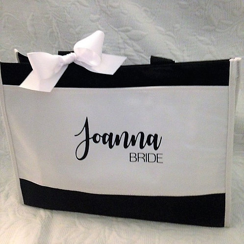 Bridal Party Personalized Tote Black and White