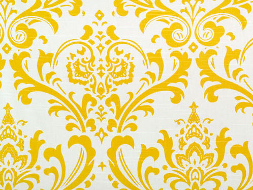 Cornflower Yellow Damask Custom Shower Curtain