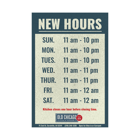 Old Chicago - New Hours Poster