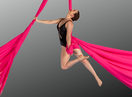 Steph Grehan hanging from hot pink aerial silks