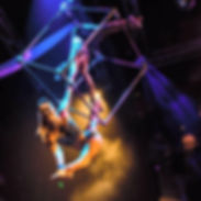 Duo Cube - a breathtaking, duo aerial show featuring two sensatina aerialists performing a cirque inspired show.