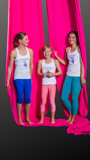 three happy children smiling and holding onto aerial silks