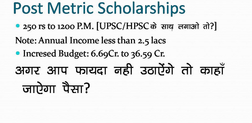Explanation of how Government have given you priority for post Metric Scholarships