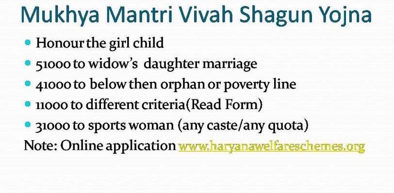 Explanation of Mukhya Mantri Vivah Shagun Yojna