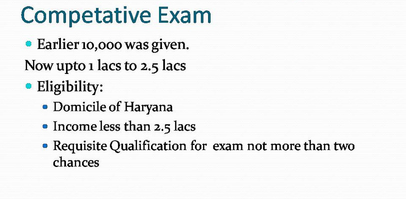 Explanation of financial assistance for Higher Competitive Exam