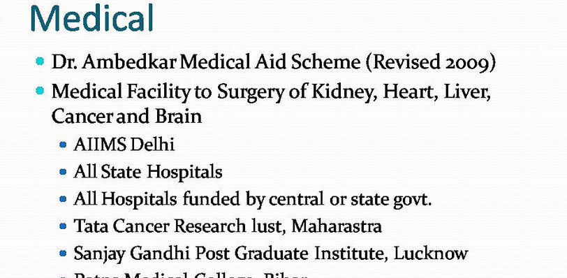 Explanation of Dr. Ambedkar Medical Aid Scheme for Scheduled Castes & Scheduled Tribes