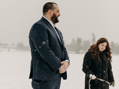 a snowy elopement on frozen mirror lake IN lake placid, ny