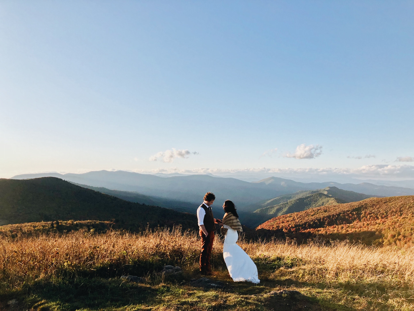 Matthew and Jessica exchanged vows overlooking the autumn colors of Black Balsam Knob.