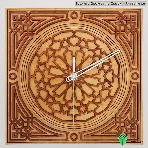 Islamic Geometric Clock: Pattern 10