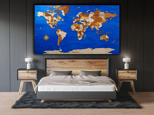 Supersized Laser Cut World Map on a Custom Hand Painted Canvas