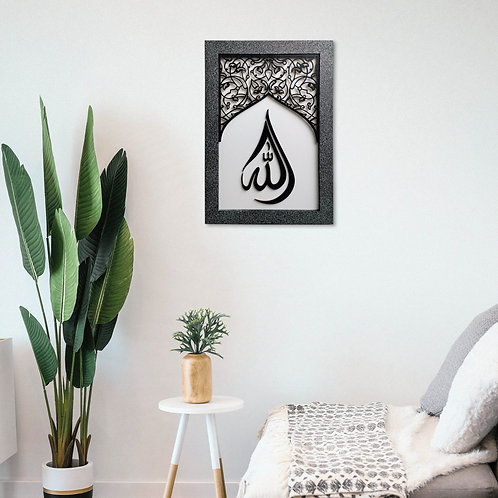 Contemporary, AllAH Tear Drop Calligraphy in  Arch Ornate Window, Black & White