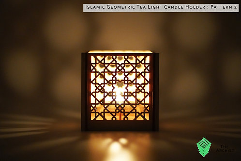 Islamic Geometric Tea Light Candle Holder : Pattern 2