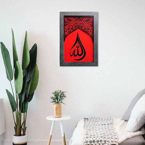 Contemporary, AllAH Tear Drop Calligraphy in  Arch Ornate Window, Black & Red