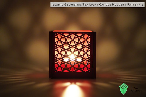 Islamic Geometric Tea Light Candle Holder : Pattern 4