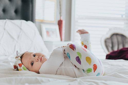 Varavīksnes mazulim- Bodijs, bikses un matu lenta ar krāsainām lietus lāsēm