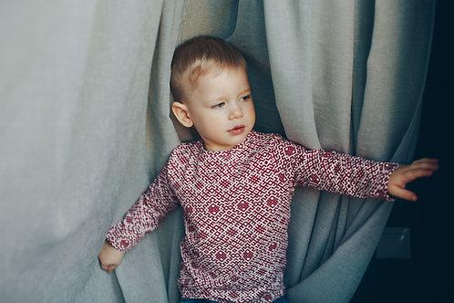 Bordo Latviska dizaina krekls ar garām piedurknēm