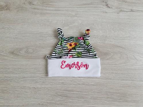 Personalizēta cepure ar džungļu ziedu dizainu ar diviem mezgliņiem