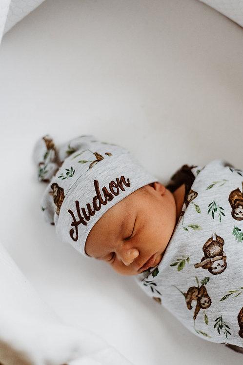 Personalizēta cepure ar sliņķu dizainu ar mezgliņu
