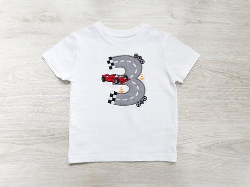 Personalizēts bodijs vai T-krekls ar sacensību auto, vārdu un ciparu