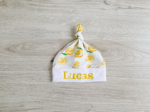 Personalizēta cepure ar citronu dizainu ar mezgliņu