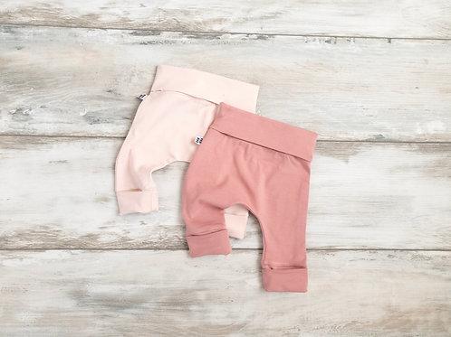Komplekts 2 rozā bikses ar atlokāmām kāju un vidukļa manžetēm