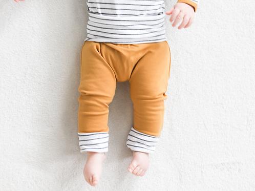 Sinepju strīpainas bikses ar atlokāmām kāju un vidukļa manžetēm