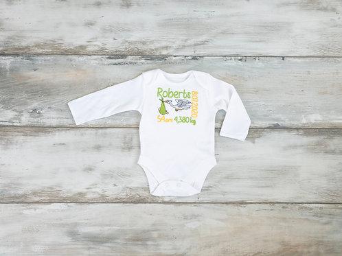 Personalizēts bodijs ar stārķi, bērna vārdu un dzimšanas datiem
