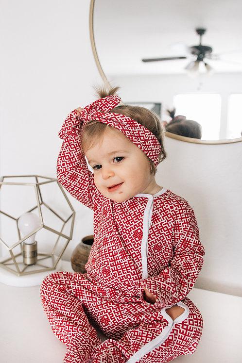 Latviska dizaina bordo krāsas pidžamma/rāpulītis