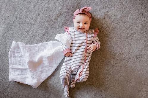 Pidžamma/rāpulītis strīpaina ar rozā elementiem