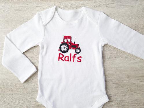 Personalizēts bodijs ar traktoru, ciparu un bērna vārdu