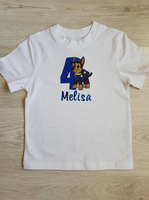"""Personalizēts krekls ar vārdu, ciparu un sunīti """"Chase"""" no """"Ķepu patruļas"""""""