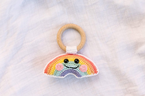 """Tamborēts grabulītis/ graužamriņķis  """"Smaidīgā varavīksne"""""""