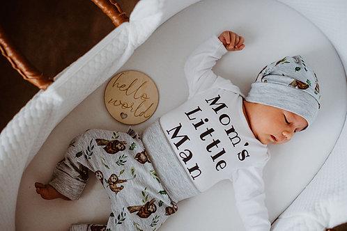 "Cepure, bikses un bodijs ar sliņķu dizainu,""Moms Little Man"""