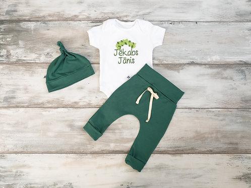 """Zaļš """"Mazais Līgotājs"""" komplekts ar biksēm, bodiju un cepuri"""