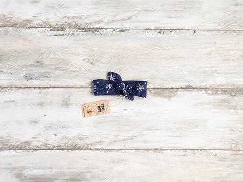 Tumši zila matu lenta ar sniegpārslām (izm.0-6m)