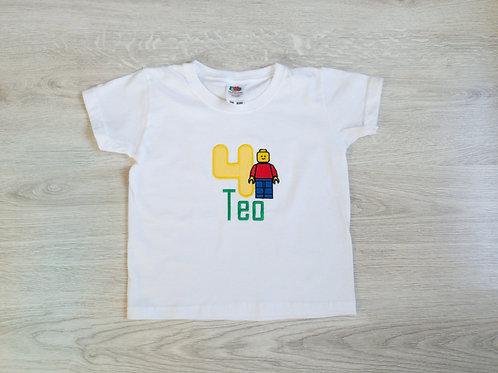 Personalizēts bodijs vai T-krekls ar lego cilvēciņu, vārdu un ciparu