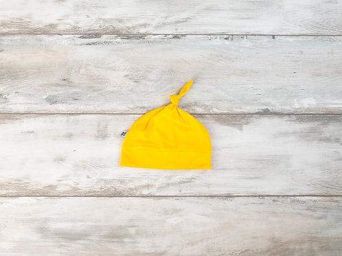 Dzeltena cepure ar mezgliņu