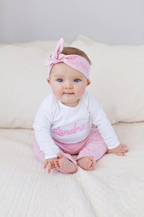 Personalizēts maigi rozā komplekts