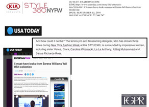 USA Today talks Kia STYLE360 NYFW 2016