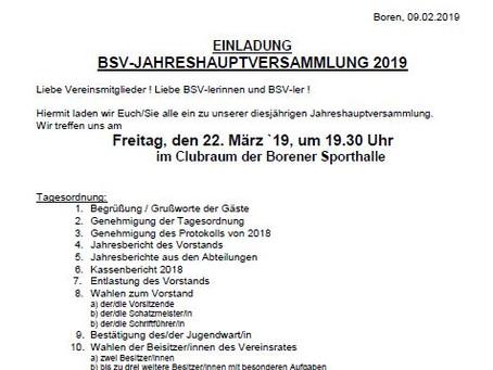 BSV-Jahreshauptversammlung am 22. März 2019
