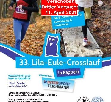 Lila-Eule-Cross wird erneut verschoben: Neuer Anlauf am 11. April 2021