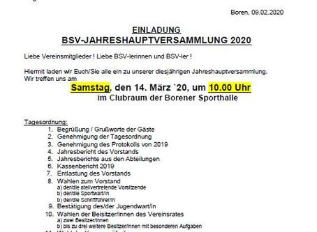 BSV-Jahreshauptversammlung am 14. März 2020