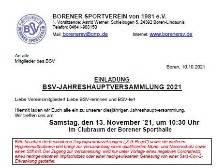 Einladung zur BSV-Jahreshauptversammlung am 13. November 2021