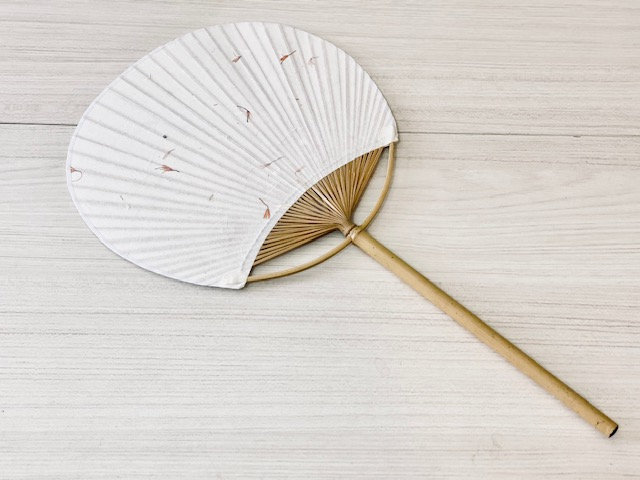 Abanico bamboo papel algodón